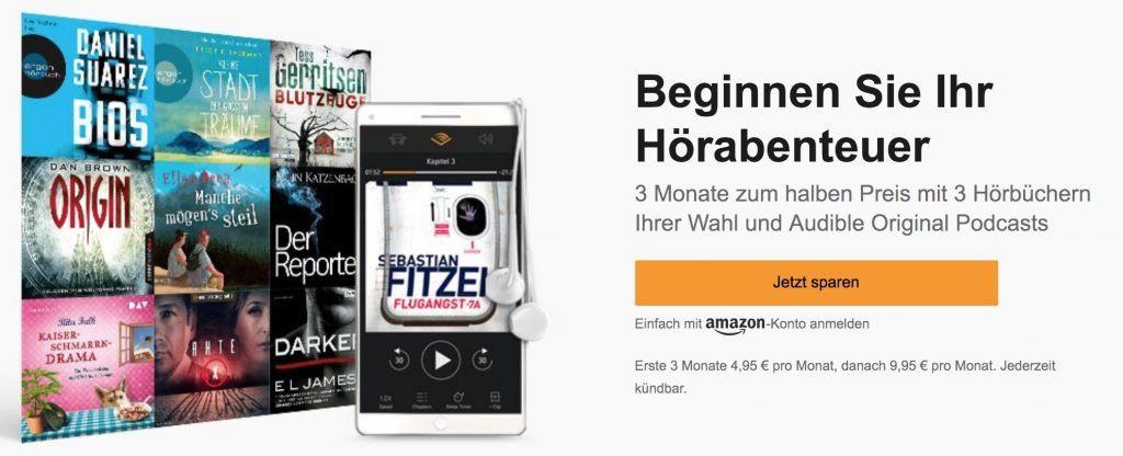 50% Rabatt: Audible 3 Monate mit je 1 Hörbuch nur 4,95€ mtl. (statt 10€)   auch: Bestandskunden ohne aktives Abo