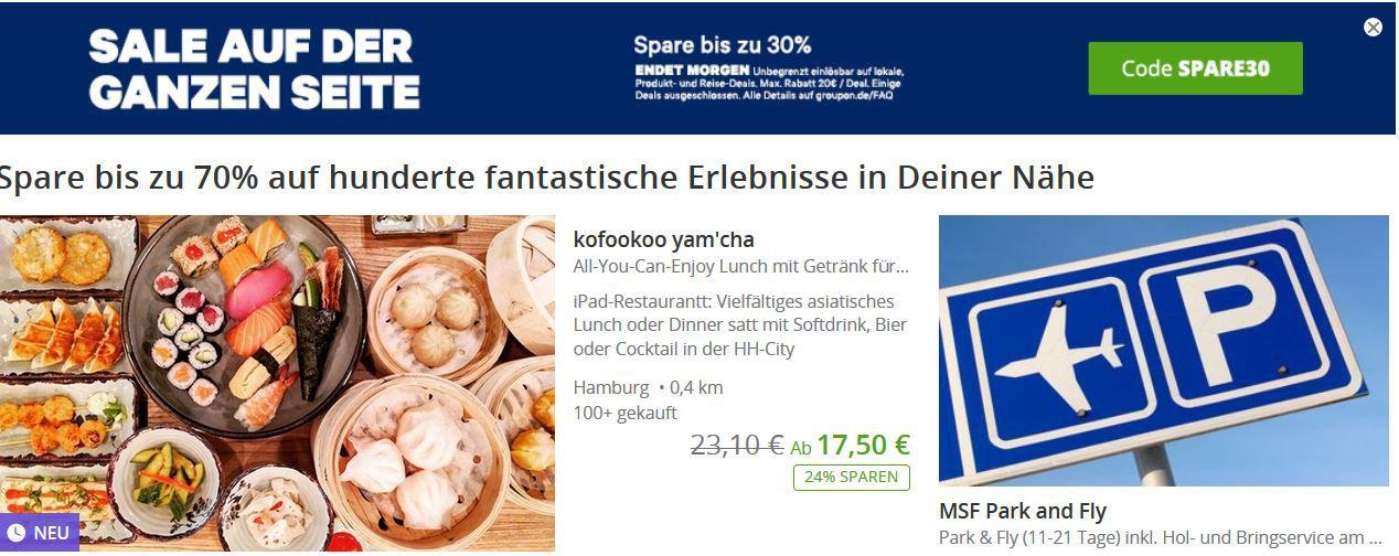 Weekend Sale: bis 30% Rabatt auf ausgewählte lokale   Reisen   Produkt Angebote bei Groupon bis Mitternacht