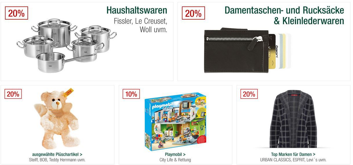 Galeria Kaufhof Sonntagsangebote   z.B. 20% auf Top Marken z.B. Urban Classics, Cartoon, Cecil, DKNY, Esprit uvam