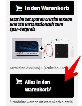 Crucial MX500 SSD mit 500GB + Crucial Installationskit für 59€ (statt 86€)
