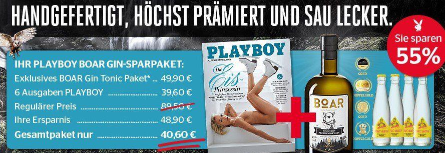 6 Ausgaben Playboy + BOAR Gin inkl. 4 Flaschen Tonic (Wert 40€) für 40,60€