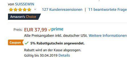 Suissewinn SN9851   Rucksack mit Laptopfach & mehr für 18,09€ (statt 40€)