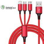 Wieder da! 3-in-1 USB-Ladekabel (USB-C, Micro-USB, Lightning) in verschiedenen Farben für 1,85€ (statt 4,62€)