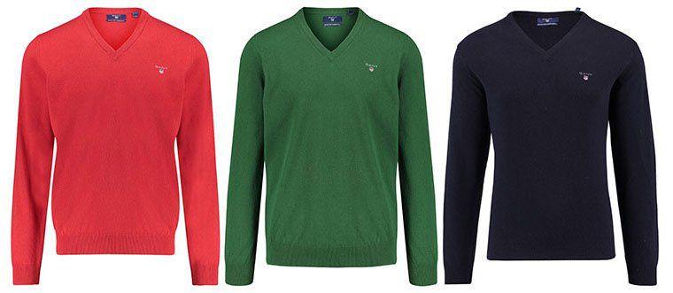 GANT Herren Pullover aus weicher Lammwolle mit V Neck ab 42,41€ (statt 70€)