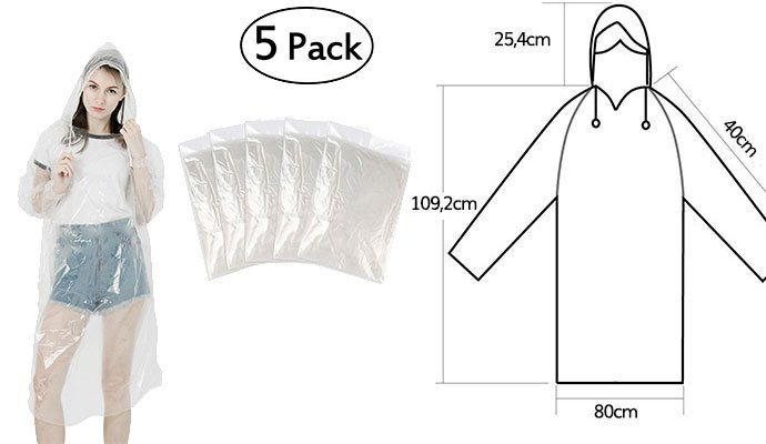 5er Pack: Einweg Regenponcho mit Kapuze für 6,99€   Prime