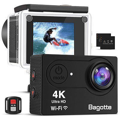 Bagotte 4K Actioncam mit Fernbedienung, viel Zubehör & 2 Akkus für 32,49€ (statt 50€)