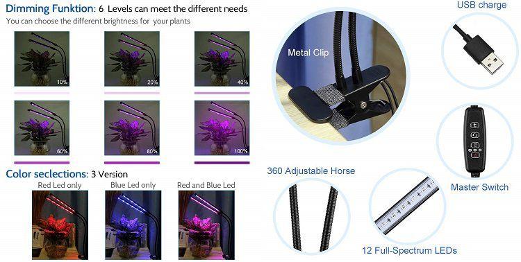 AGM Pflanzenlampe mit zwei Leuchten und schwenkbaren Hälsen für 16,99€ (statt 30€)