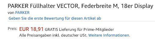 Vorbei! 18er Pack Vector Füllhalter (Federbreite M) für 22€ (statt 171€)