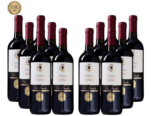12 Flaschen Villa Gracchio Rosso für 45€   goldprämierter Rotwein aus 2017