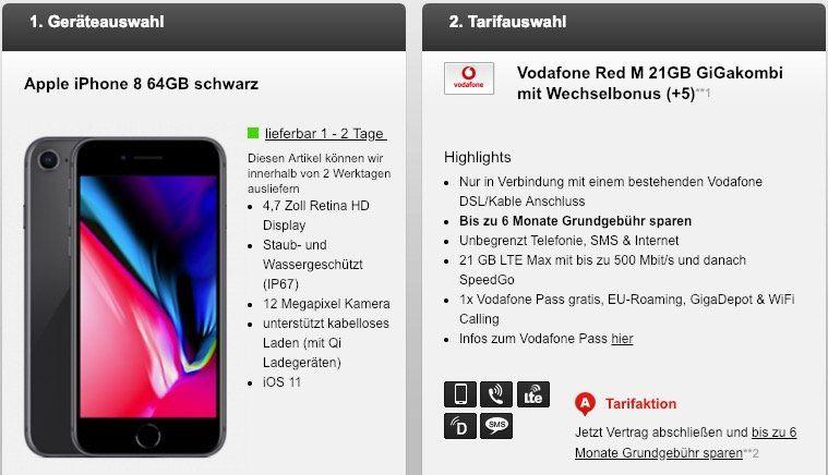 Vodafone Red M 21GB GiGakombi mit Wechselbonus (bis zu 6 Monate keine Grundgebühr) für 39,99€ mtl. + iPhone 8 oder Galaxy S9+ für 69€