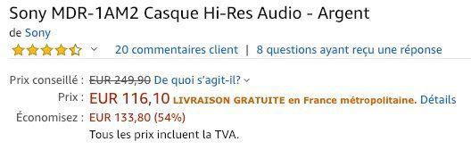 Sony MDR 1AM2 Kopfhörer mit Beat Response Control für 120€ (statt 180€)