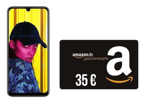 Huawei P smart (2019) für 4,95€ + 35€ Amazon Gutschein gratis + Telekom Allnet Flat von congstar mit 3GB LTE für 22,50€ mtl.