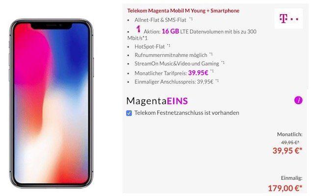 Junge Leute: iPhone X für 179€ + Telekom Flat mit 16GB LTE + StreamOn Music&Video und Gaming für 39,95€mtl.   nur mit MagentaEINS