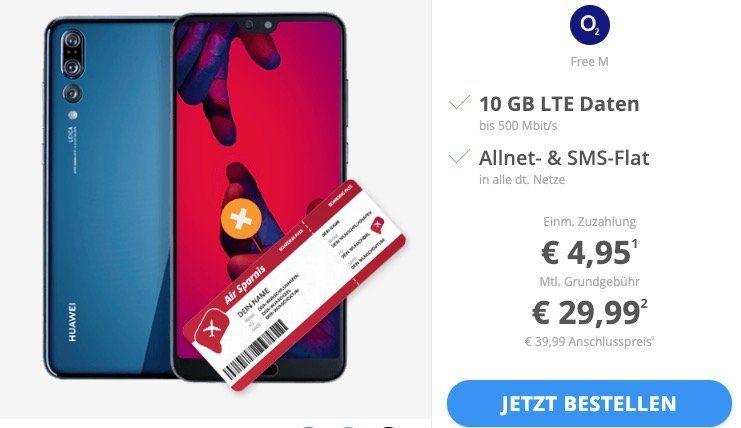 📱 Huawei P20 Pro + o2 Free M Allnet Flat mit 10GB LTE für 29,99€ + Gratis Flug innerhalb Europas