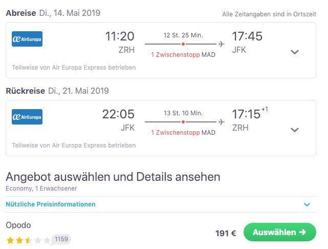 Hin  und Rückflug von Zürich nach New York ab 191€ (April   Juni)   Handgepäck bis 10kg inklusive