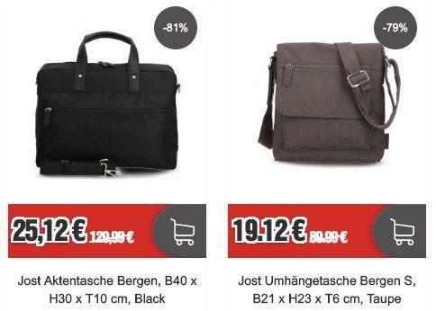 Jost Taschen & Rucksack Sale   z.B. Aktentasche  Bergen für 25,12€ (statt 79€)