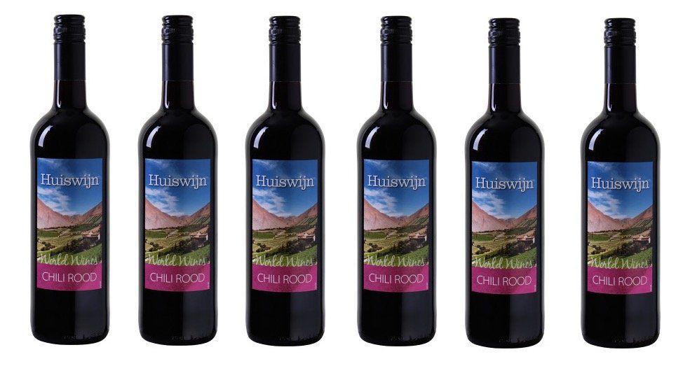 6 Flaschen Huiswijn Chili Rood Tafelwein aus Chile für 17,89€