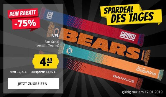 NFL Fan Schals für je 4,44€ zzgl. VSK   z.B. New York Giants (statt 14€)