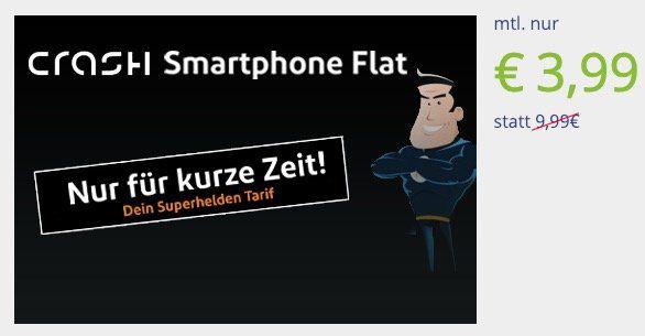 Vodafone Flat von Crash mit 100 Freiminuten + 1GB nur 3,99€mtl.
