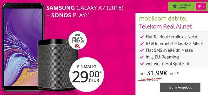Sonos Play:1 + Samsung Galaxy A7 (2018) 64GB für 29€ + Telekom Allnet Flat mit 8GB für 31,99€ mtl.
