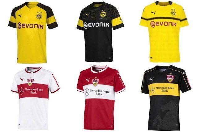 Dortmund, Gladbach und Stuttgart Trikots (2018/19) für je 39,99€   für Herren und Kinder