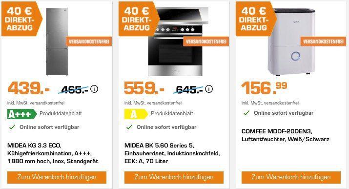 Midea und Comfee Geräte mit 40€ Sofort Rabatt   z.B. Einbauherdset mit Induktion für nur 519€ (statt 689€)