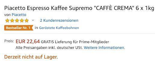 Fehler? 6kg Piacetto Espresso Kaffee Supremo Caffè Crema ganze Bohne für 22,64€   nur 3,77€ pro Kilo!