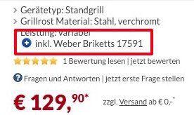 Weber One Touch Original 57cm Grill + 8kg Weber Briketts für 129,90€ (statt 170€)