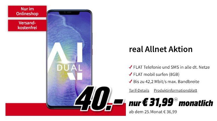 Huawei Mate 20 Pro für 40€ + Vodafone Allnet Flat mit 8GB für 31,99€ mtl.