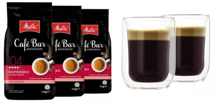 3kg Melitta Cafe Bar Kaffeebohnen inkl. 2 doppelwandige Gläser nur 29,99€