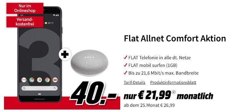 Google Pixel 3 & Home Mini für 40€ + Vodafone Flat mit 1GB für 21,99€ mtl.