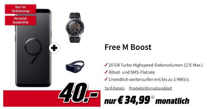 Samsung Galaxy S9+ mit Galaxy Watch 46mm & Gear VR Brille nur 40€ + o2 Free M mit 20GB LTE für 34,99€ mtl.