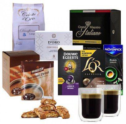 Nespresso Winterpaket Kapseln (110 Stück) + 2 doppelwandige Gläser + Kakao + Kekse für 29,99€