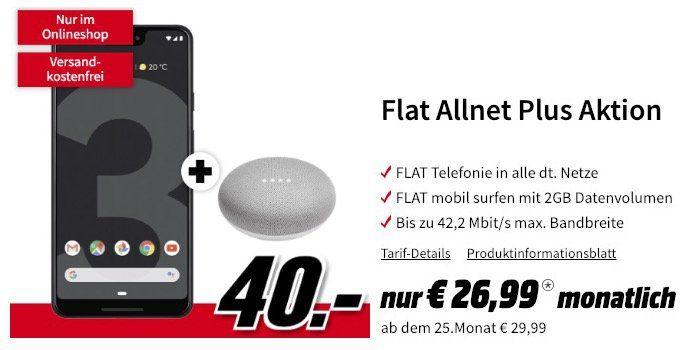 Google Pixel 3 XL & Home Mini für 40€ + Vodafone Allnet Flat mit 2GB für 26,99€ mtl.