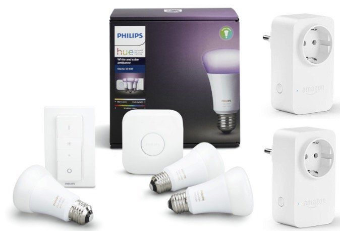 Philips Hue White & Color Ambiance Starter Kit E27 + 2x Amazon Smart Plug für 149,85€ + 30€ Cashback