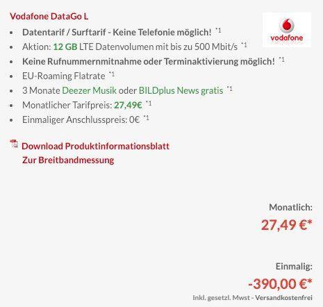 Wieder da! Vodafone DataGo L mit 12GB LTE für 27,49€ mtl. + 390€ Auszahlung + wireless In Ear BT Kopfhörer (Wert 98€)