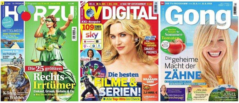 Tipp: TV Zeitschriften im 3 Monatsabo inkl. gleichwertiger Scheckprämie
