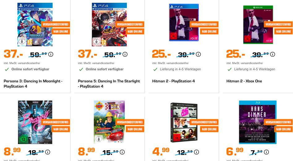 Saturn Entertainment Weekend Deals: z.B. Hitman 2 (PS4 & Xbox) für 25€