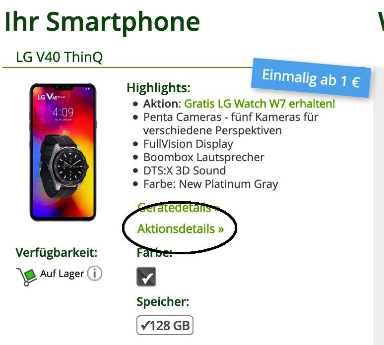 ? LG V40 ThinQ + LG Watch W7 für 49,99€ (Wert 1192€) einmalig + O2 Allnet Flat mit 1GB mntl. 28,99€
