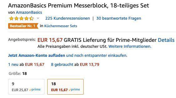 Ausverkauft! AmazonBasics Premium Messerblock 18 teilig ab 15,67€ (statt 52€)