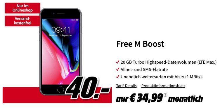 iPhone 8 für 40€ + o2 Free M Boost mit 20GB LTE für 34,99€ mtl.