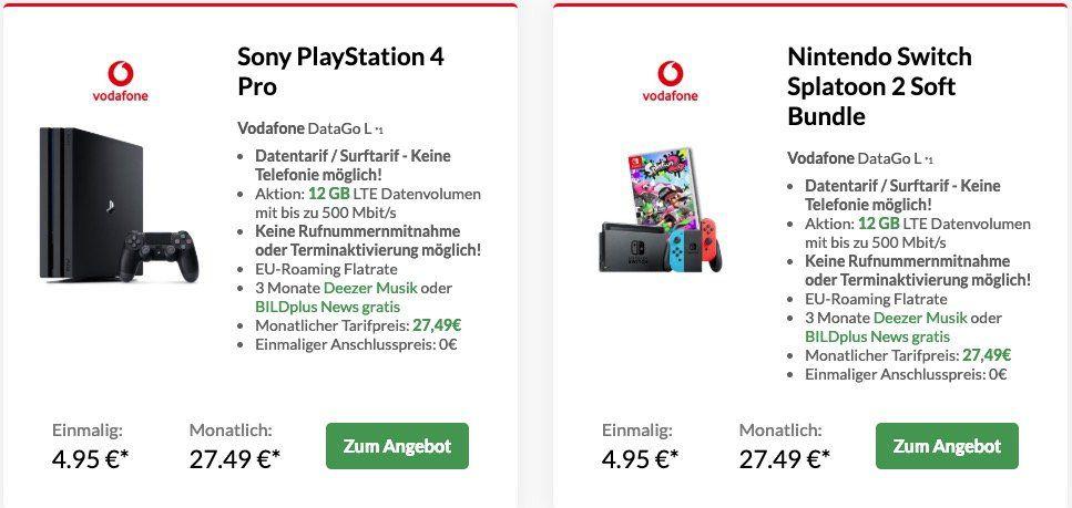 Vodafone Data Go L mit 12GB LTE (bis 500 Mbit/s) für 27,49€ mtl. (dank Cashback eff. 9,57€)