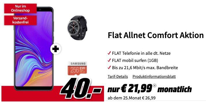 Samsung Galaxy A9 + Gear S3 frontier + MicroSDXC 256GB für 40€ + Vodafone Allnet Flat mit 1GB für 21,99€