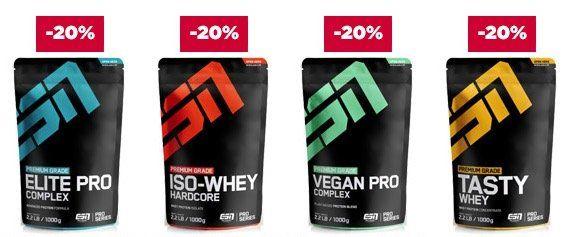 20% auf ESN Proteine oder 15% auf Creatine & Booster bei Fitmart   z.B. 4kg ESN Whey für 60,48€
