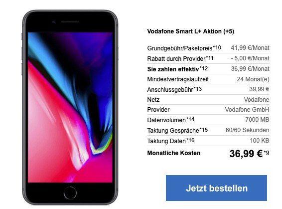 iPhone 8 für 9,95€ + Vodafone Smart L mit 7GB LTE für 36,99€ mtl.   junge Leute 12GB LTE!