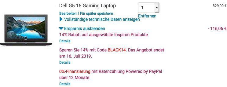 Dell G5 15 Gaming Notebook mit GTX 1050 für 712,94€ (statt 1.004€)
