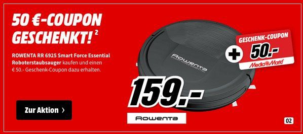 ROWENTA RR6925 Smart Force Essential Saugroboter für 159€ (statt 150€) + 50€ MM Gutschein