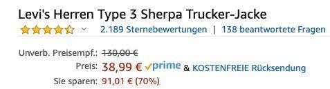 Abgelaufen! Levi's Type 3 Sherpa Trucker Jeansjacke für 38,99€ (statt 98€)