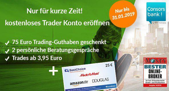 Kostenloses Young Trader Konto bei der Consorsbank mit 75€ Trading Guthaben + 25€ BestChoice Gutschein   bereits ab 3,95€ pro Trade