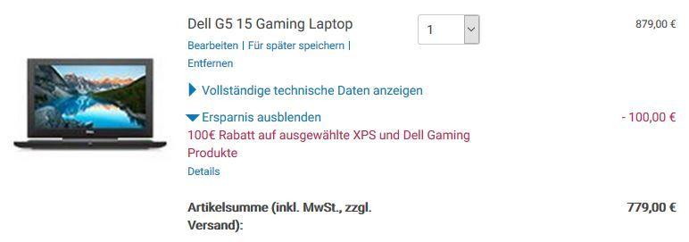 Dell G5 15 Gaming Notebook mit GTX 1050 für 779€ (statt 966€)